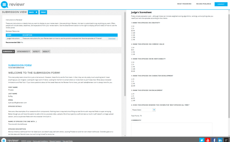 Submission Management Software Judging Page